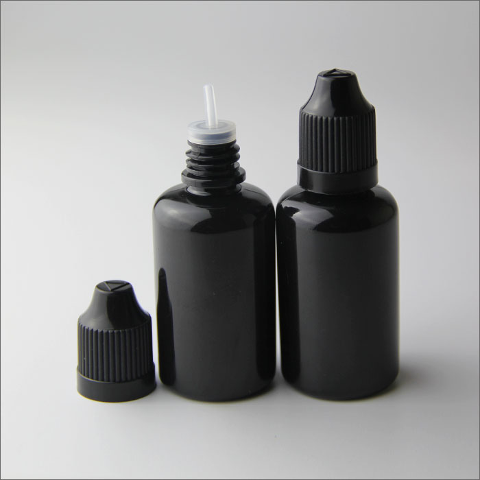 30ml pet black ejuice bottles with childproof caps and thinner dropper