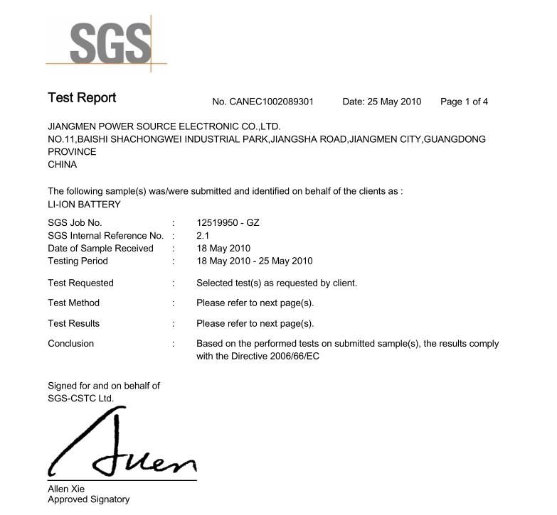 SGS Certification for 808d battery